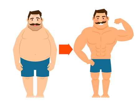 weight loss man: Fat and slim man with mustache. Big man and muscular man before and after weight loss vector illustration