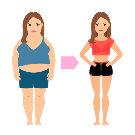 Women weight loss success. Fat and slim woman before and after diet vector illustration Stock Illustratie