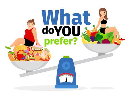 Übergewichtige Frau, ungesunde Lebensmittel und gesunde vegan essen schlanke Mädchen auf Skalen Vektor-Illustration Vektorgrafik