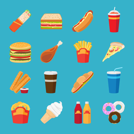 Food and drink flat icons. Fastfood or junk food take out lunch vector elements