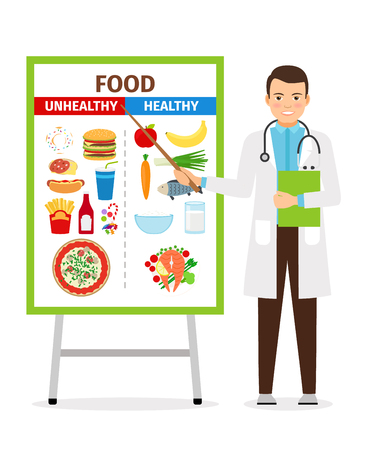 unhealthy: Nutritionist vector illustration. Doctor shows poster about dietetic healthy and unhealthy food