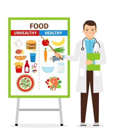 illustrazione vettoriale nutrizionista. Il medico mostra manifesto sul cibo sano e malsano dietetica
