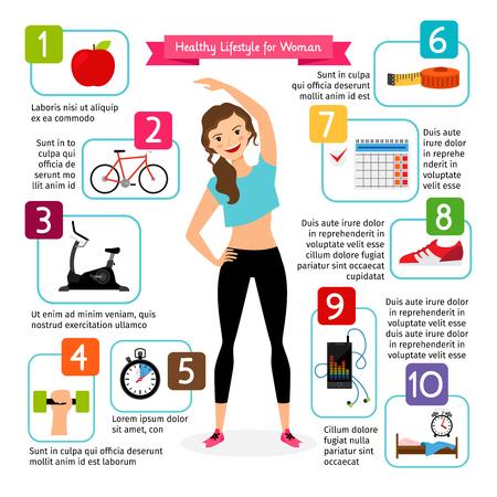 Femme en bonne santé infographies de style de vie. Régime alimentaire, le c?ur du sport, la vie positive est fille en bonne santé illustration vectorielle Banque d'images - 62748344