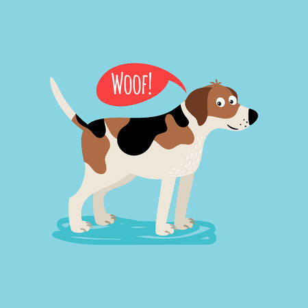 Vector cartoon happy dog, card template with text woof Illustration