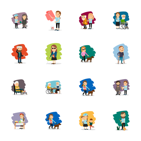 Different people colorful characters set. Vector illustration