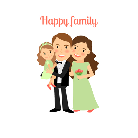 family isolated: Happy family with young daughter isolated vector illustration