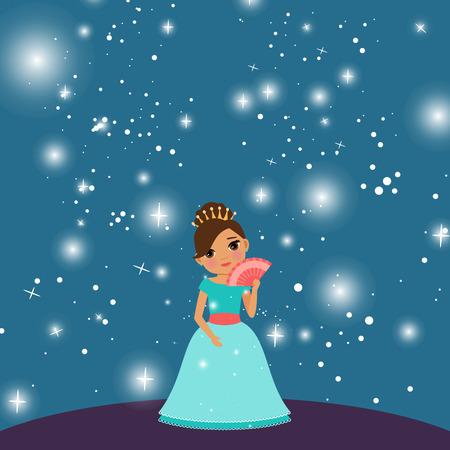 cartoon Beautiful princess with lights on the dark blue background. Vector illustration