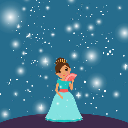 cartoon Beautiful princess with lights on the dark blue background. Vector illustration