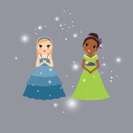 fashion story: Beautiful princess cartoon characters with lights. Vector illustration