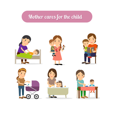 infant bathing: Mother cares for the child characters set. Vector illustration Illustration