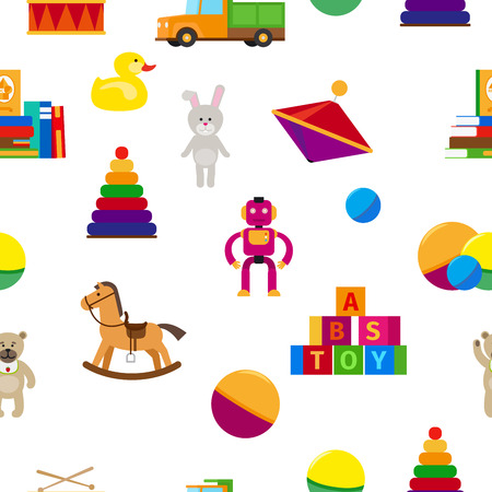 Kids toys in flat style seamless pattern. Vector illustration