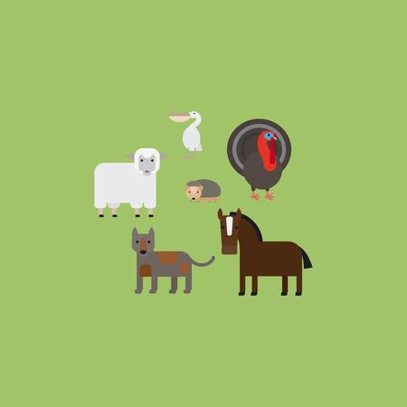 Different animals flat design icons set. Vector illustration