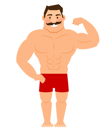 muscular male: Beautiful cartoon muscular man with mustache, athletic male body vector illustration