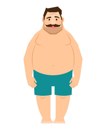 bulimia: Single fat man. Male body with overweight cartoon vector illustration