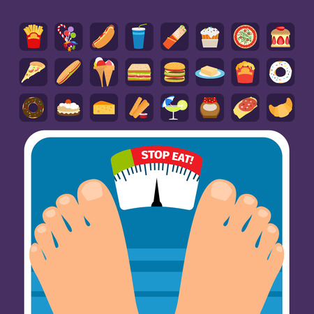 fatty food: Overweight on scale concept with sweets icons. Stop eating fatty food vector illustration Illustration