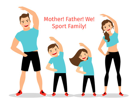 Active family vector illustration. Sport lifestyle parents and children exercising isolated on white background Vettoriali