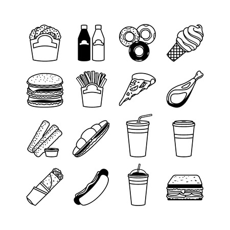 black pictogram: Food vector icons and fastfood symbols. Snack and meal silhouette signs Illustration