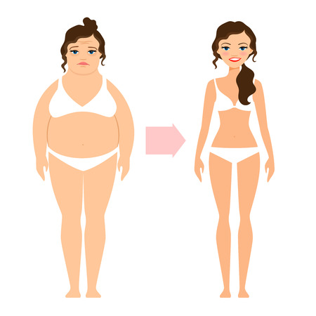 Fat lady and slim diet woman. Unhealthy and healthy lifestyle people isolated on white background. Vector illustration Illustration