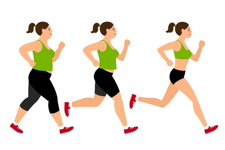 weight loss woman: Jogging weight loss woman. Overweight fat lady and fitness slim girl vector illustration