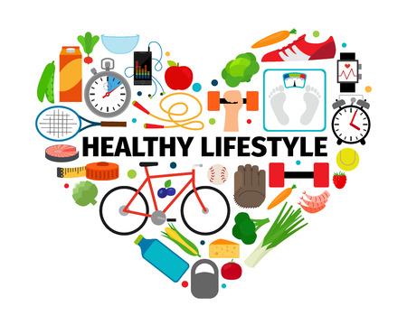el emblema del corazón del estilo de vida saludable. Salud, la alimentación sana y activa la rutina diaria iconos planos del vector de la bandera aislado en el fondo blanco Ilustración de vector