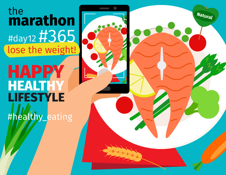 Diet and weight loss marathon. Mobile food photo with calories plan vector illustration Illustration