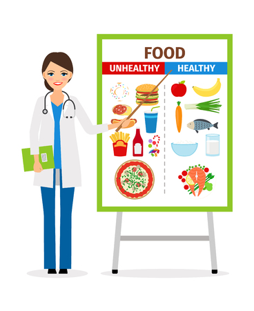 physicist: Nutritionist or dietician counselor doctor with diet and unhealthy food poster vector illustration