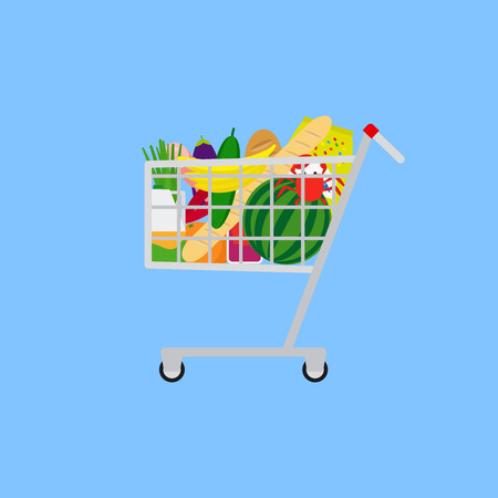 Shopping cart with food on blue background. Vector illustration