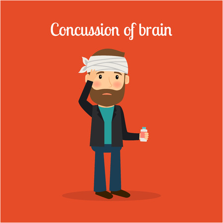 concussion: Disabled people in cartoon, concussion of brain. Vector illustration