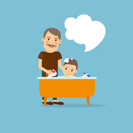 scrubbing: Father washing baby cartoon icon. Vector illustration