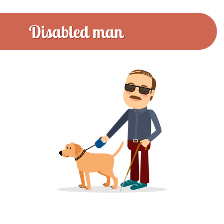 blind dog: Disabled person vector icon. Blind man with dog