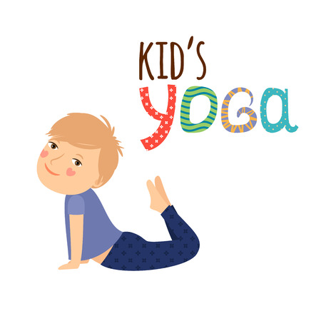 joga: Yoga kids isolated design with boy vector illustration
