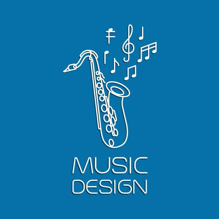 soprano saxophone: diseño de la música con el saxofón del instrumento clásico. ilustración vectorial