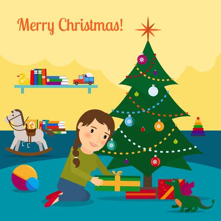 boll: Girl decorate christmas tree. Cartoon vector illustration