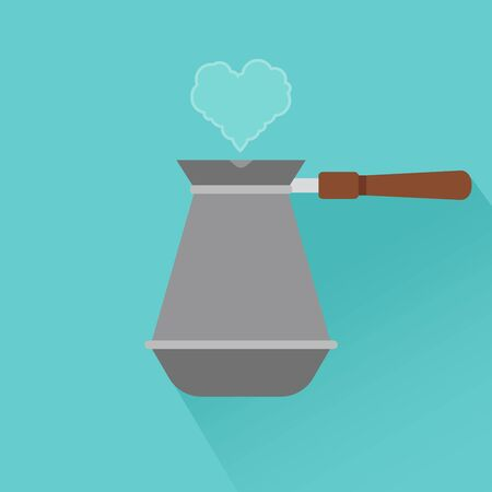 Coffee maker flat modern icon with shadow and heart. Vector illustration Illusztráció