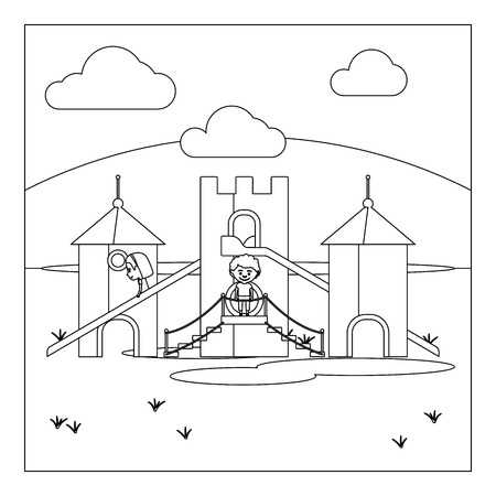 kindergartener: Coloring book page design with kids on playground. Vector illustration