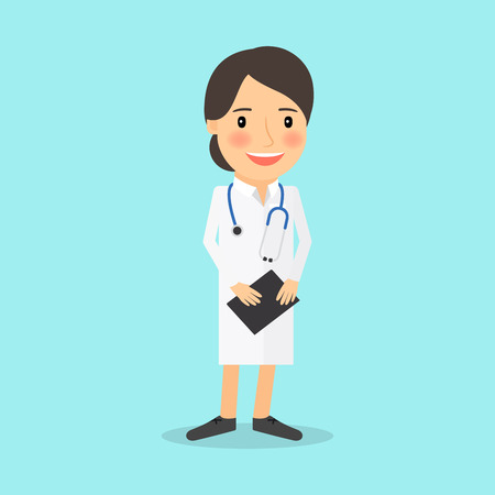 white uniform: Medical doctor character. Young lady in white uniform vector illustration Illustration