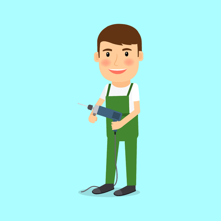 People occupation character. Repairman in cartoon style vector illustration