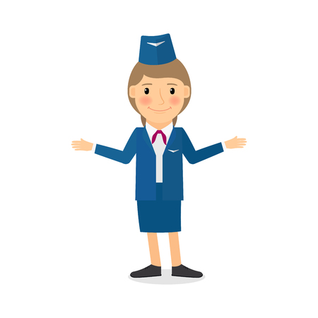 Stewardess vector character. People profession vector illustration