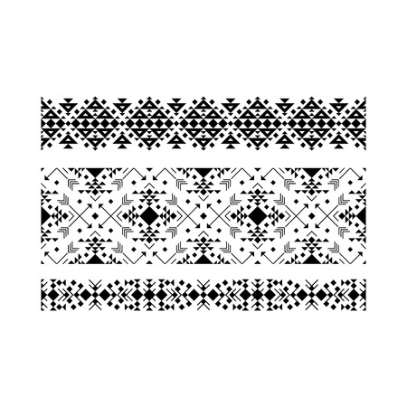 Black ethnic ornamental set on white background. Vector illustration