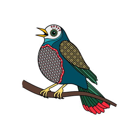 Vector colored bird with floral pattern on white background Illustration