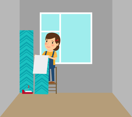 Woman making repairs in her home putting on wallpapers. Vector illustration Illustration