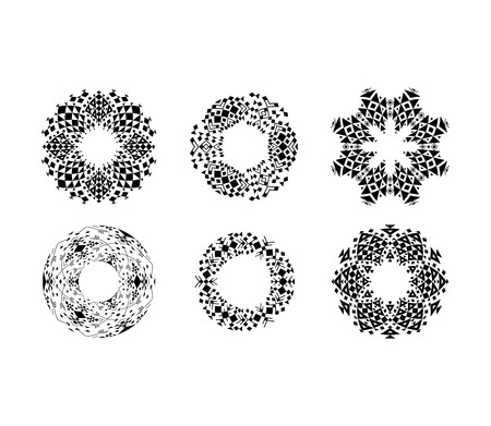 jainism: Black ethnic ornamental cirular frames set. Vector illustration