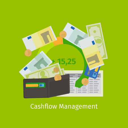 cashflow: Cashflow management cartoon flat icon. Vector illustration