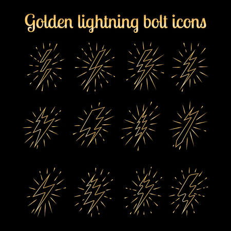 zapping: Golden lightning bolt thin line icons set on the black background. Vector illustration