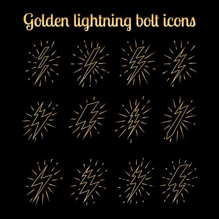 zapping: Golden lightning bolt thin line icons set on the black background. Vector illustration