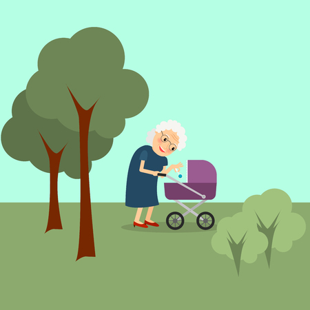 grandmamma: Grandmother with baby stroller in the park. Vector illustration