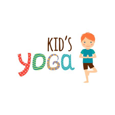 Yoga kids isolated logo design. Vector illustration