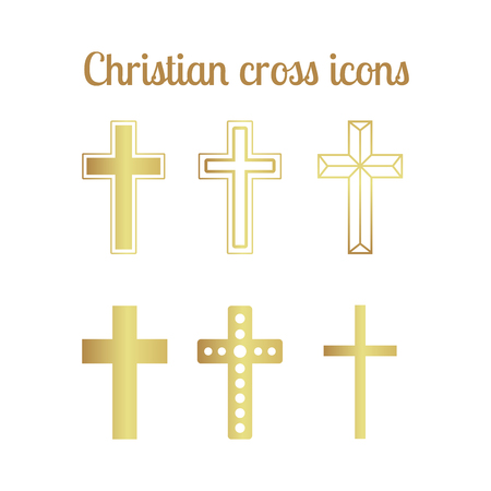 baptist: Golden christian cross icons isolated set. Vector illustration