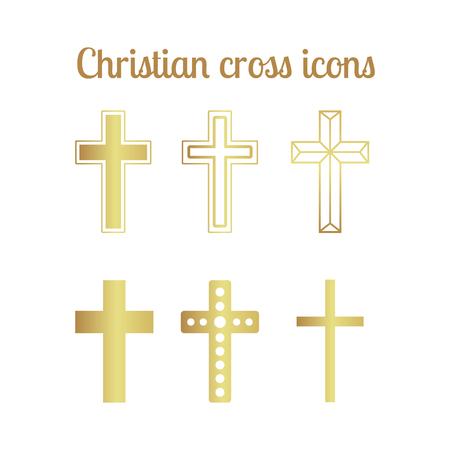 baptist: Golden christian cross icons isolated set. Vector illustration