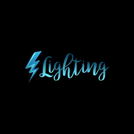 skew: Lightning icon with lettering on black background. Vector illustration